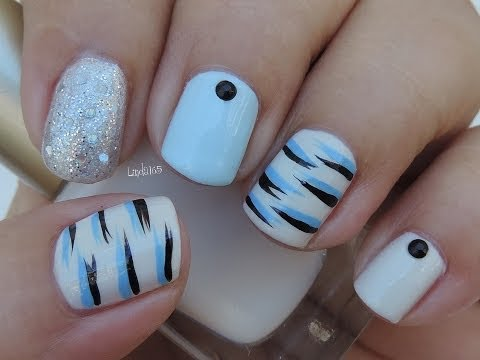 Nail Art Blue Tiger Stripes- Tigre Azul - Decoracion de Uñas