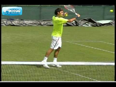 Roger Federer Backhand Volley Slow Motion