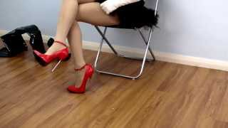 getlinkyoutube.com-16cm Red High Heels Pantyhose