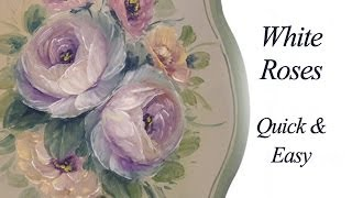 getlinkyoutube.com-White Roses- Quick and Fun Decorative Painting