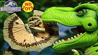 getlinkyoutube.com-New Jurassic World Dilophosaurus Vs T-Rex Unboxing, Review 2015 By WD Toys