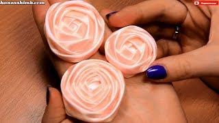 getlinkyoutube.com-Как сделать розу из атласной ленты для свадебного букета? Мастер класс / DIY Satin Ribbon Rose