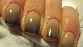 getlinkyoutube.com-Black & nude ombre gradient nail tutorial - Cieniowane zdobienie paznokci - Basevehei