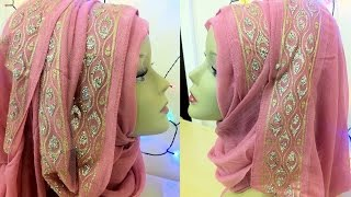 getlinkyoutube.com-Fancy bordered hijab style || By Shum Stuff