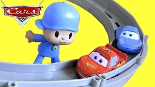 getlinkyoutube.com-Pocoyo & Pixar Cars Race and Chase McQueen Sally Carrera Motorized Track Baby Toys by ToyCollector