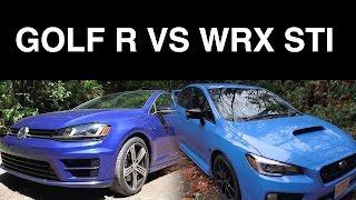 getlinkyoutube.com-2016 VW Golf R vs 2016 Subaru WRX STI