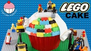 getlinkyoutube.com-LEGO CAKE! How to Make A Lego Construction Cake - A Cupcake Addiction Tutorial