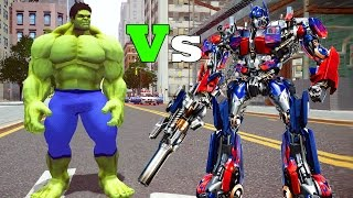 getlinkyoutube.com-Grand Theft Auto V Gameplay - Optimus Prime Vs Hulk MOD Part #02 GTAV Mods
