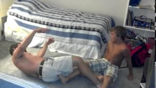 getlinkyoutube.com-Son locks on painful pro wrestling moves on dad