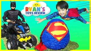 getlinkyoutube.com-GIANT EGG SURPRISE OPENING SUPERMAN Imaginext SuperHeroes Toys Batman vs Superman Power Wheels