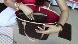 getlinkyoutube.com-Louis Vuitton Neverfull MM/ Organizer, base shaper, etc...answered