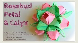 getlinkyoutube.com-Valentine's Day Crafts- Origami Rose - How to Fold Origami Flower or Rosebud Petal & Calyx Bouquet