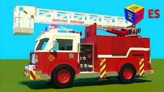 getlinkyoutube.com-Juego de construcción: un camión de bomberos. Dibujos animados de camiones para niños en español.