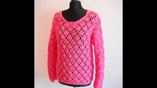 getlinkyoutube.com-how to crochet pink pullover sweater by marifu6a  video tutorial free pattern