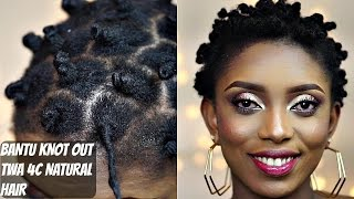 getlinkyoutube.com-Bantu Knot Out On T W A 4C Natural Hair
