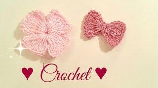 getlinkyoutube.com-🎀🌸 #1 ×2 crochet_flowers & bow  اشغال يدوية عمل وردة كروشي/ فيونكة 2 فى واحد🌸