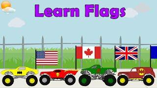 getlinkyoutube.com-Monster Truck Videos - Learn Country Flags For Kids, Educational Video, Flag Song