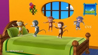 getlinkyoutube.com-Five Little Monkeys Jumping on the bed - 3D Animation English Nursery rhyme for children