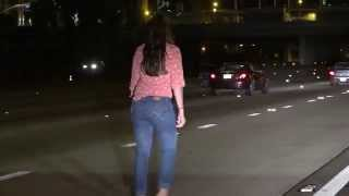 getlinkyoutube.com-She's Lost: Drunk Woman Pees & Stumbles In The Middle Of The I-15 Freeway In San Diego!
