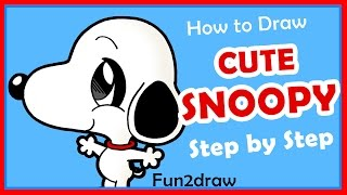 getlinkyoutube.com-How to Draw Cute Cartoons Step by Step - Snoopy from Charlie Brown - Drawing Tutorials Fun2draw