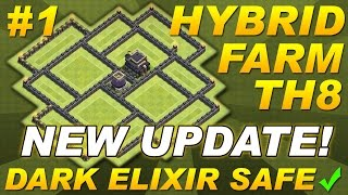 getlinkyoutube.com-NEW UPDATE Town Hall 8 (TH8) Hybrid Farming Base TH11 UPDATE Dark Elixir Clash of Clans COC Setup #1