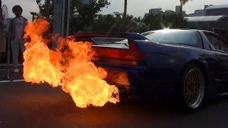 getlinkyoutube.com-まるで火炎放射器?! 直管マフラーのNSXが火を吹く!! [HD] Shooting HUGE FLAMES Honda NSX !