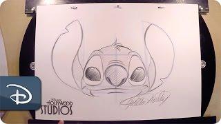 getlinkyoutube.com-How-To Draw Stitch   Walt Disney World