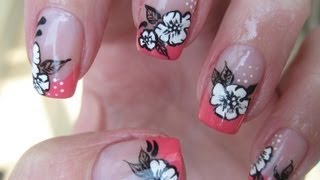getlinkyoutube.com-Nail art: Coral french with sweet white flowers