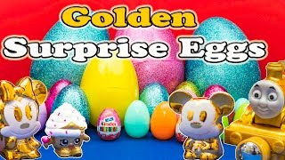 getlinkyoutube.com-SURPRISE EGGS Golden Surprise Eggs Mickey Mouse Clubhouse Thomas the Train Candy + Toys Video