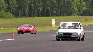 getlinkyoutube.com-Opel Kadett WKT 685HP blows away Ferrari 458 Speciale + 9ff Porsche 997 Turbo S