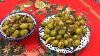 getlinkyoutube.com-تتبيلة رائعة و سهلة لتنسيم الزيتون الاخضر المخلل من المطبخ المغربي مع ربيعة Marinated Moroccan Olive