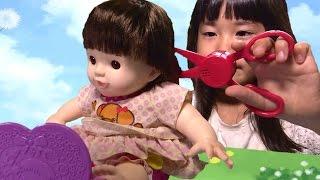 getlinkyoutube.com-ぽぽちゃん おしゃべりハサミ お道具 おもちゃ おままごと Baby Doll Popochan The scissors Toy