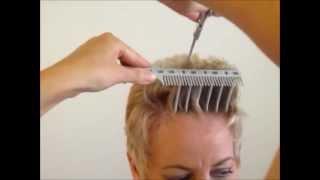 getlinkyoutube.com-How to Cut Women's Short Hair  Layer Haircut - CombPal Scissor Over Comb Hair-Cutting tool video 6