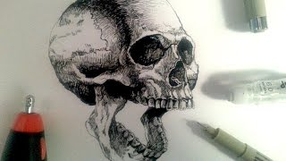 getlinkyoutube.com-Sakura Pigma Drawing Pens Demo | Drawing a realistic skull