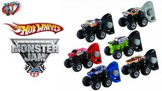 getlinkyoutube.com-Hot Wheels Monster Jam Mighty Minis Grave Digger Twin Pack Toy Review Mattel Toys
