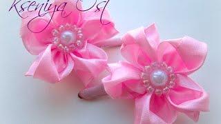 getlinkyoutube.com-Простые маленькие цветочки канзаши. Заколка с цветочком своими руками.