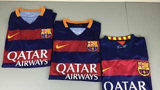 getlinkyoutube.com-Authentic vs Replica vs Fake 2015/2016 FC Barcelona Home Jerseys - Comparison [4K]