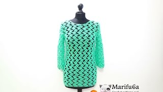 getlinkyoutube.com-how to crochet green pullover sweater tunic by marifu6a  video tutorial