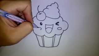 สอนวาดรูป การ์ตูน คัพเค้ก cupcake