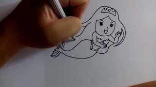 getlinkyoutube.com-วาดการ์ตูนกันเถอะ สอนวาดการ์ตูน เจ้าหญิงเงือก ง่ายๆ หัดวาดตามได้เลย