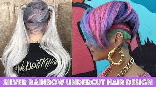getlinkyoutube.com-Silver Rainbow Undercut Hair Design