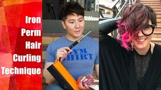 getlinkyoutube.com-Iron Perm Hair Curling Technique