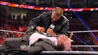 getlinkyoutube.com-The WrestleMania contract signing between Triple H and Brock Lesnar ends in chaos: Raw, March 18, 20