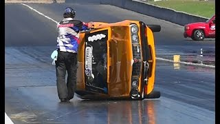 SUPERMAN RX3 TIPS OVER ON ITS SIDE AT SYDNEY DRAGWAY 14.9.2014