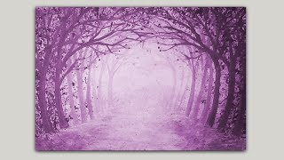 getlinkyoutube.com-Acrylic Painting Magenta Forest Path Gesso and Color Wash
