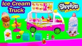 getlinkyoutube.com-Shopkins Season 3 Scoops Ice Cream Truck Playset Food Fair Van Car Exclusive Fun Toy Video Unboxing