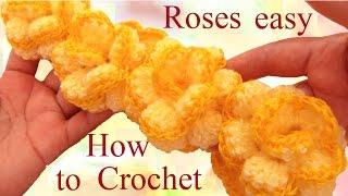 Como hacer rosas continuas con Crochet aprende fácil a tejer