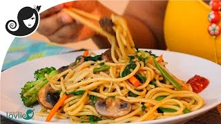 getlinkyoutube.com-Stir-Fried Vegetable Spaghetti Recipe (vegetarian / vegan recipe)