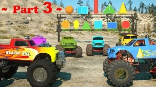 getlinkyoutube.com-Learn Shapes And Race Monster Trucks - TOYS (Part 3) | Videos For Children