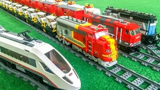Lego trains in ACTION! HUGE layout!
